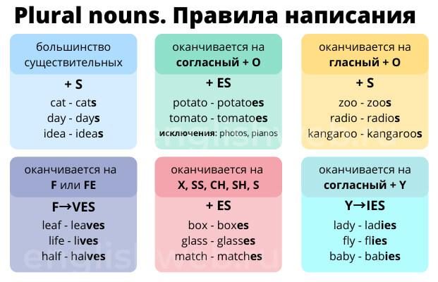 правила написания множественного числа в анлийском языке